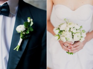 white ranunculous bouquet and boutonniere