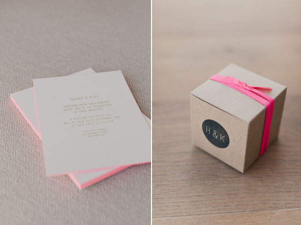 pink neon invitations & favors