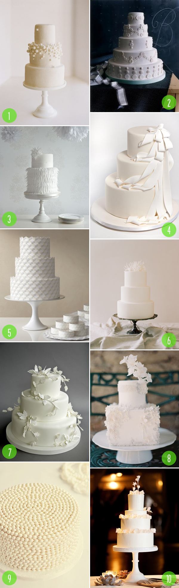 top 10: white wedding cakes