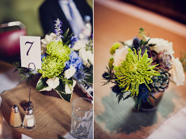 blue & green centerpieces