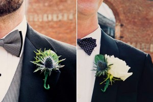 blue & green boutonnieres