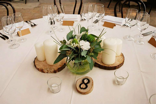green, white and wood centerpiece