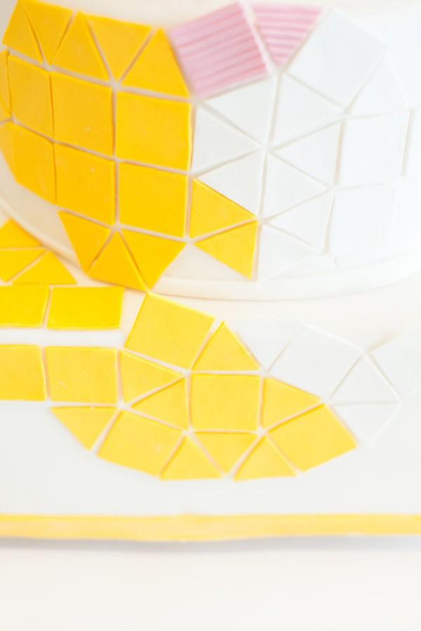 yellow & pink geometric cake