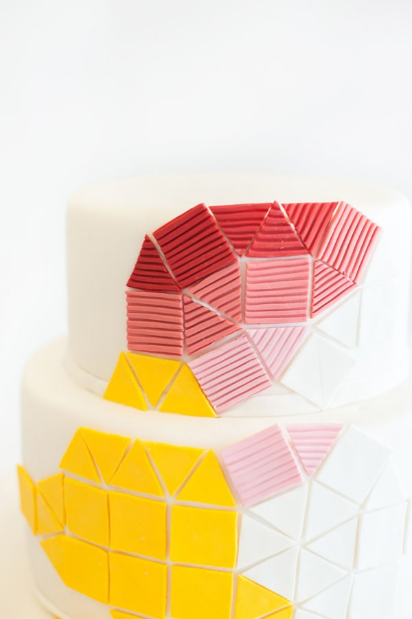 yellow & pink geometric cake