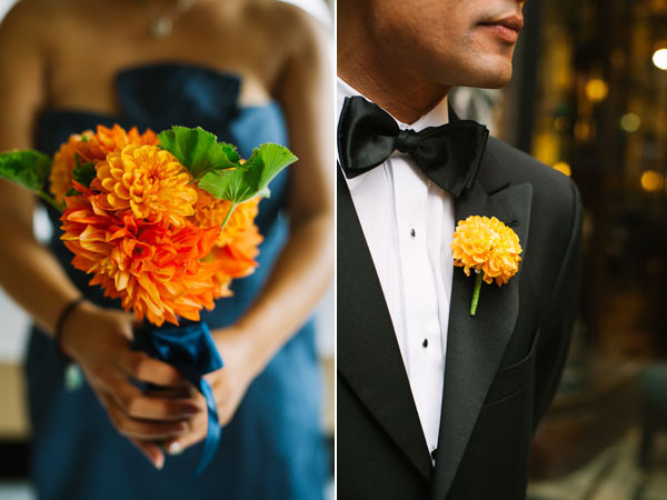 orange bouquet & boutonniere