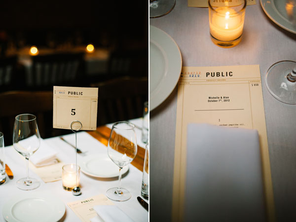 library inspired menu & table number