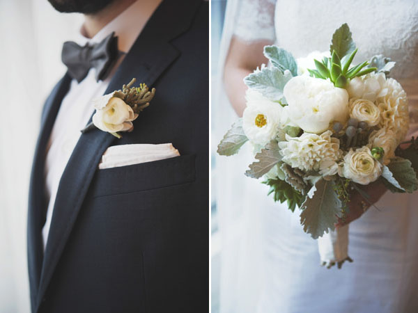 white boutonniere & bouquet