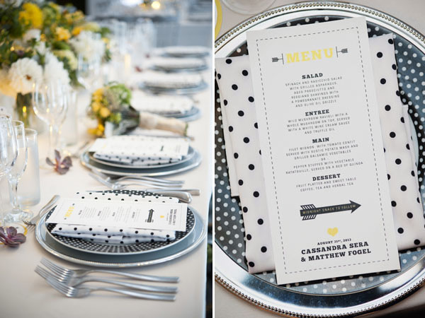 black & white menu
