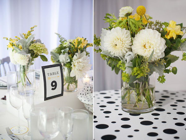white yellow & green centerpiece