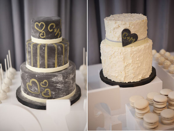 chalkboard and white cake