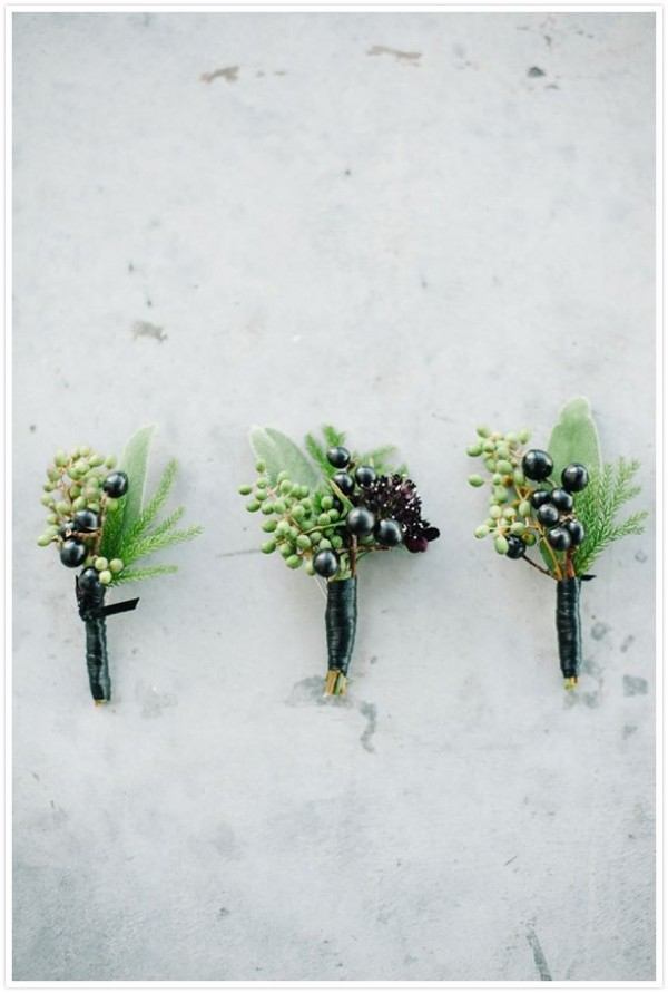 green & black boutonnieres