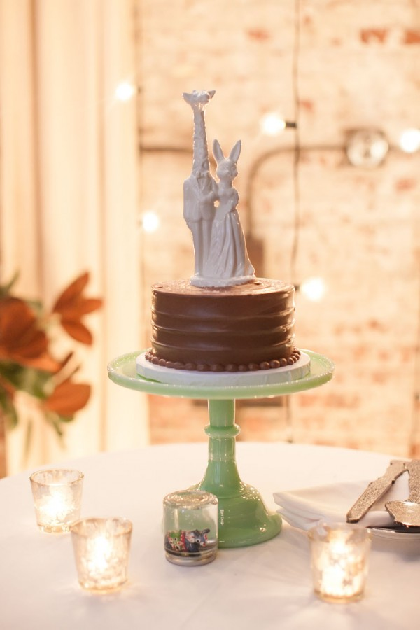 wedding cake with cute topper
