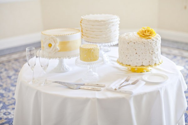 white & yellow wedding cakes