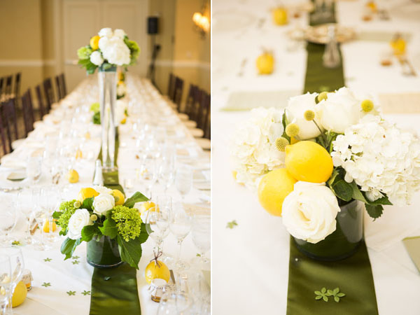 lemon & green centerpieces