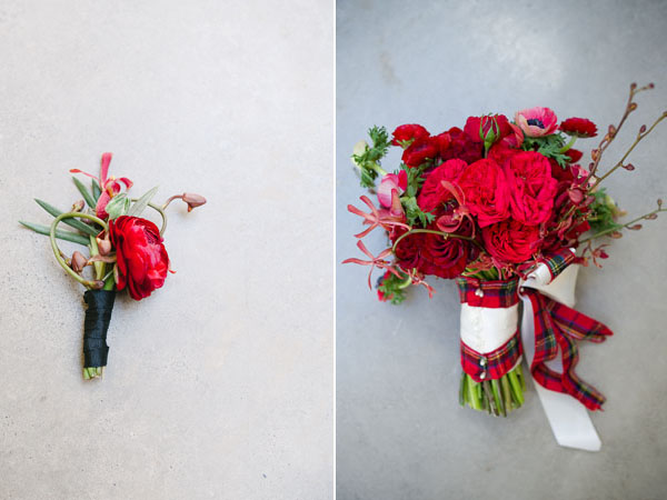 red bouquet & boutonniere