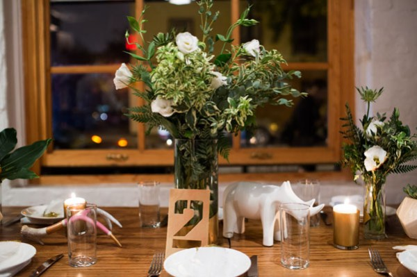 white wood gold centerpieces