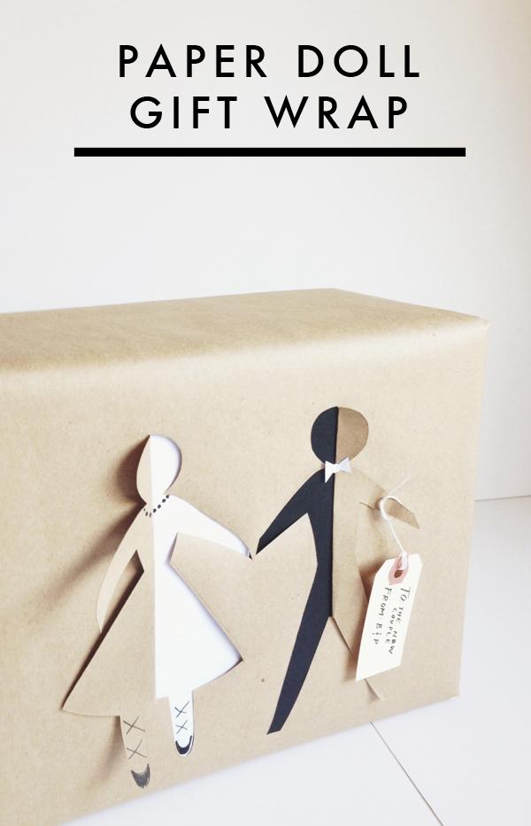Diy Paper Doll Bridal Gift Wrap Brooklyn Bride Modern Wedding Blog