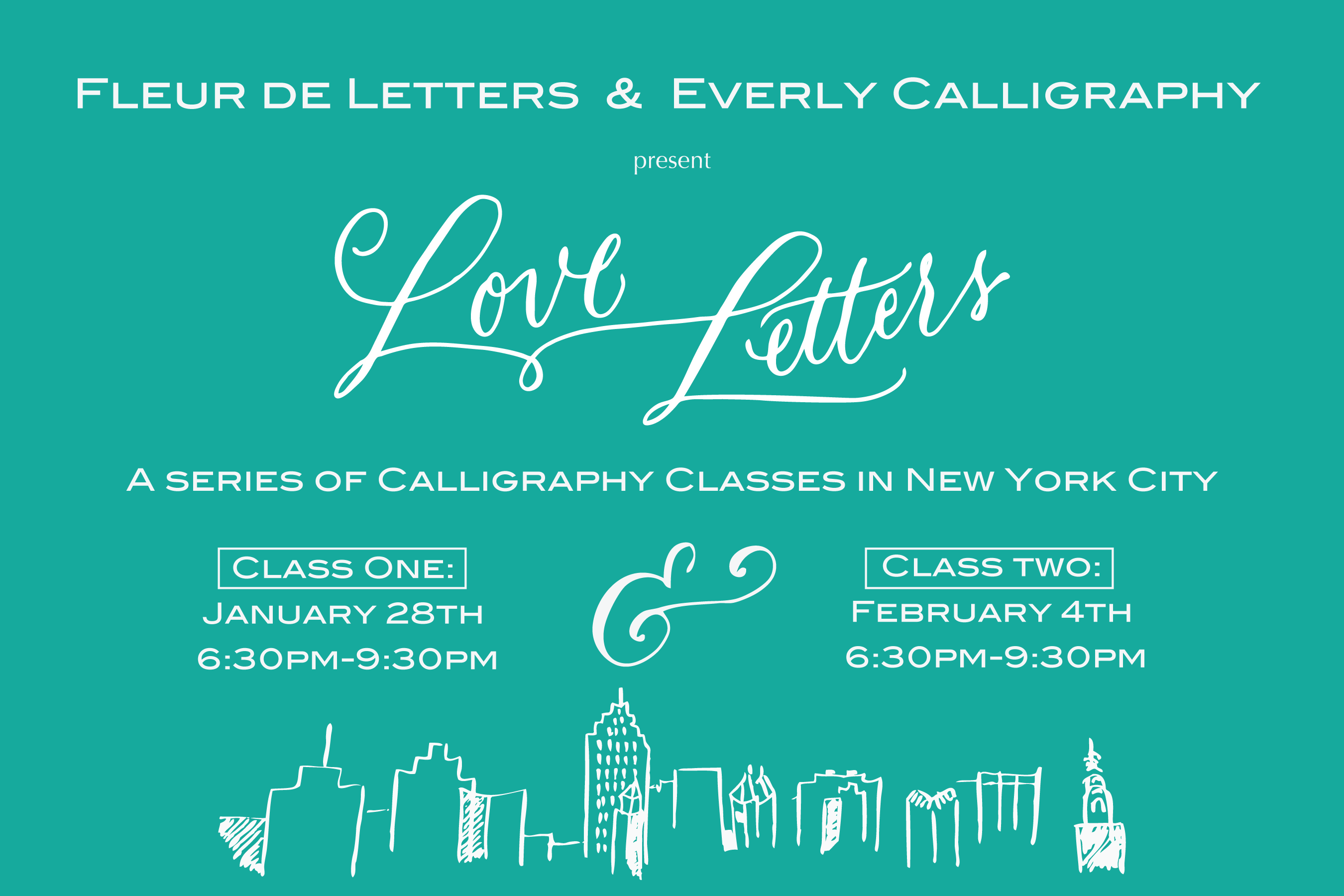 Calligraphy class brooklyn bride modern wedding