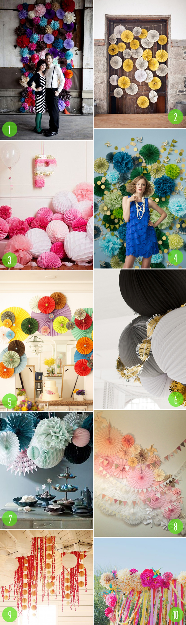 pompoms & fans in weddings