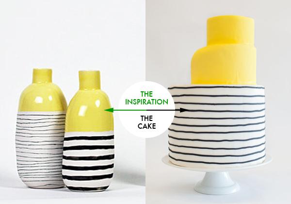 yellow striped cake