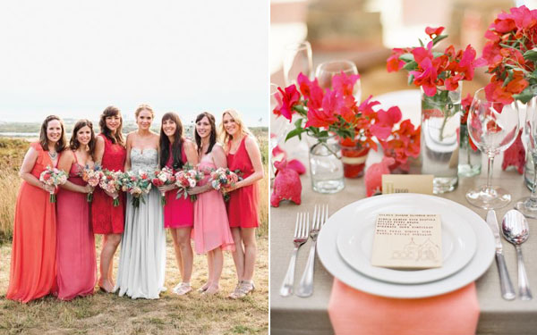 hot pink bridesmaids & centerpiece