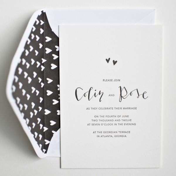 modern black & white wedding invitation
