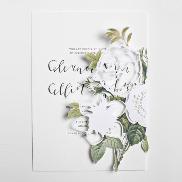modern papercut wedding invitations