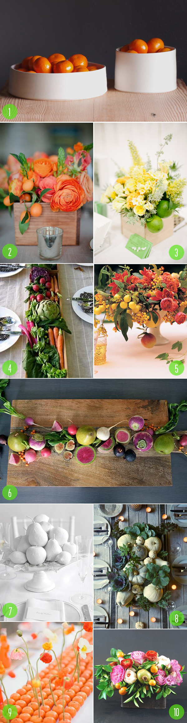 top 10: fruit veggie centerpieces