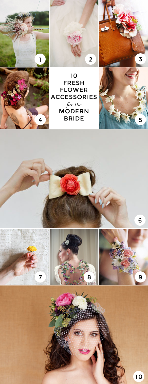 Top 10 fresh flower accessories for the modern bride