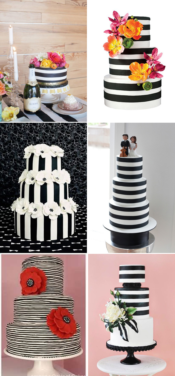 black-and-white-striped--wedding-cakes