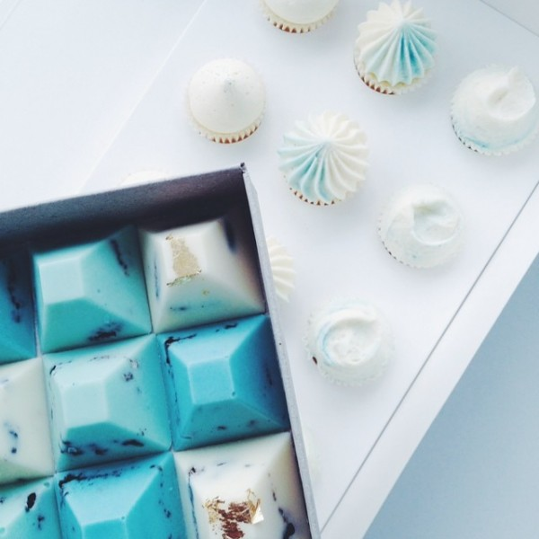 blue and white chocolates
