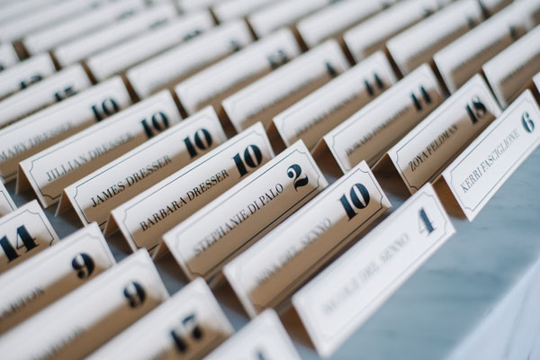 typographic escort cards