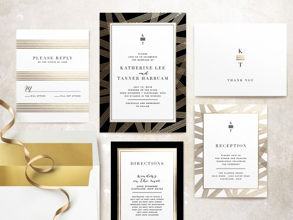 foil press invitation from minted