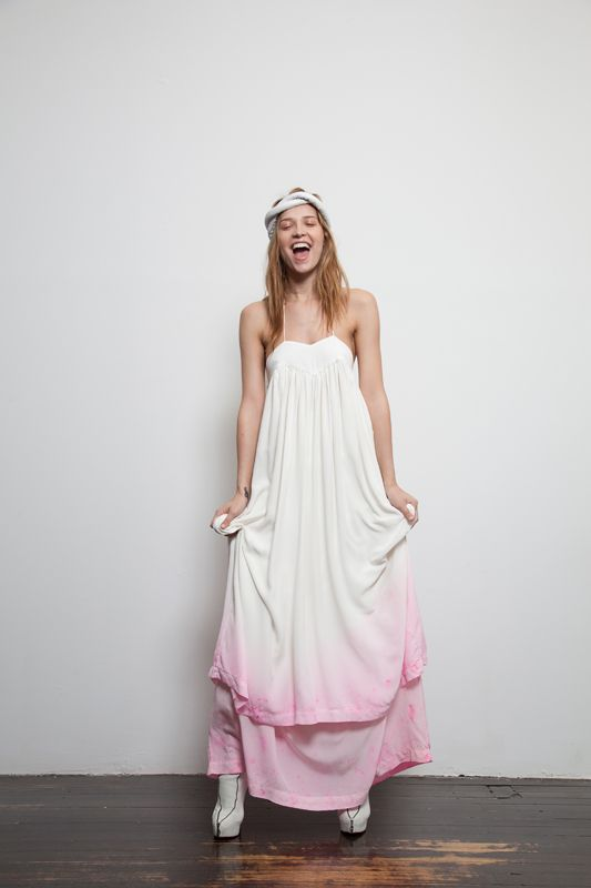 Pink dip dye wedding dress brooklyn bride modern for Dyeing a wedding dress professionally