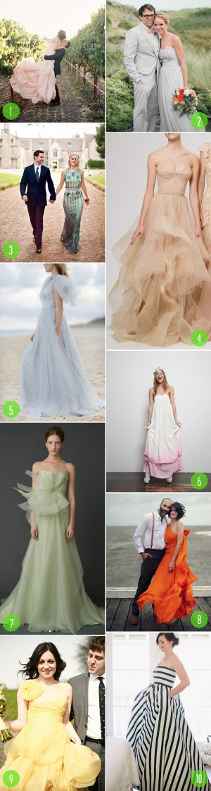 top 10: colored wedding dress