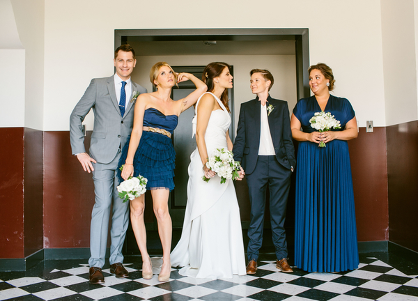 bridal party in navy