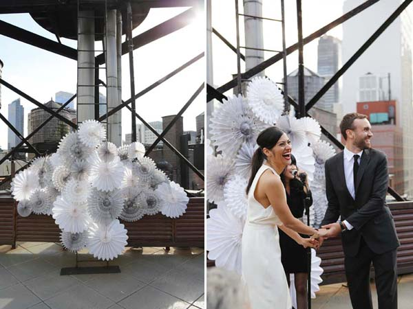 grey white paper fan backdrop modern wedding