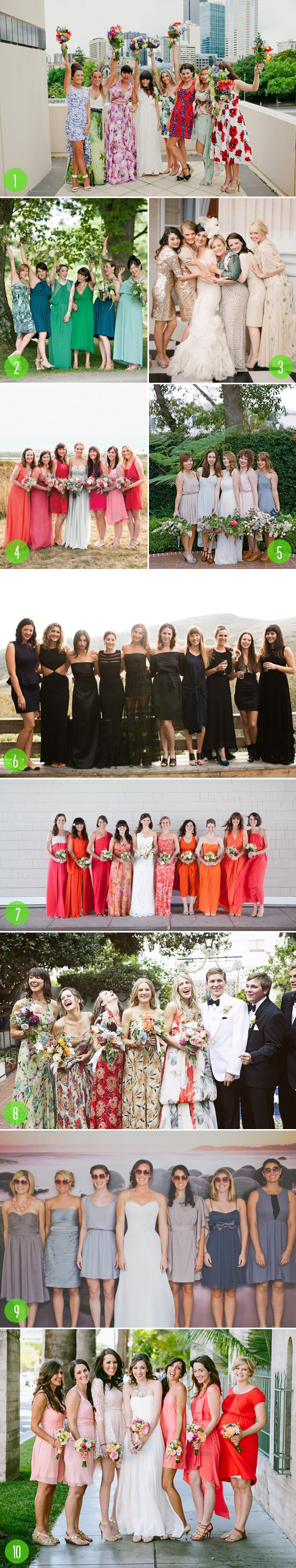 top 10: mismatch bridesmaids