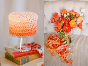 orange cake and bouquet