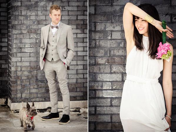 modern bride and groom