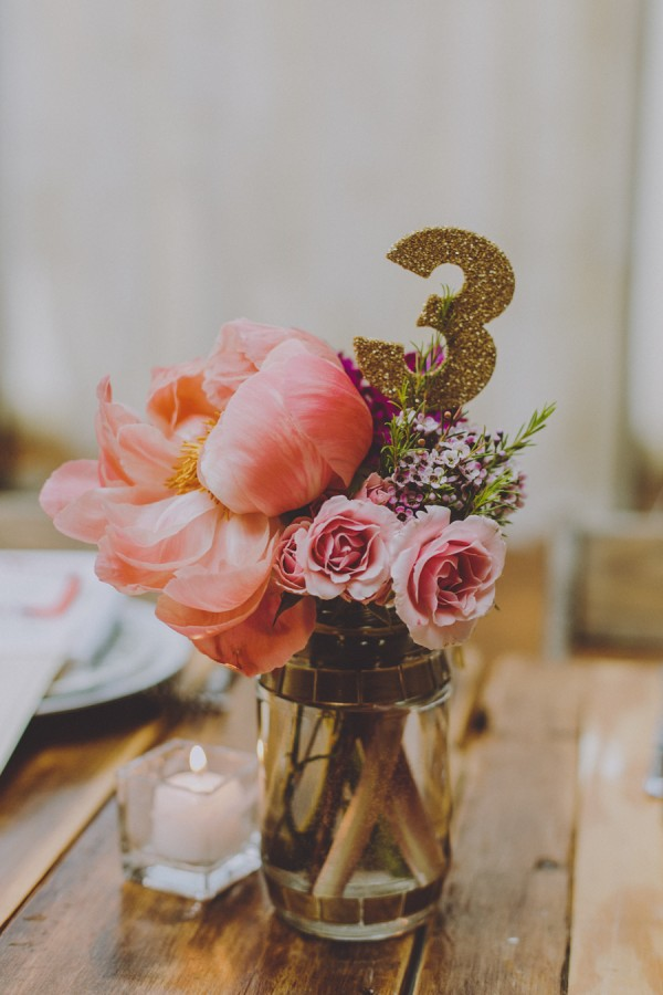 peony centerpiece and table number