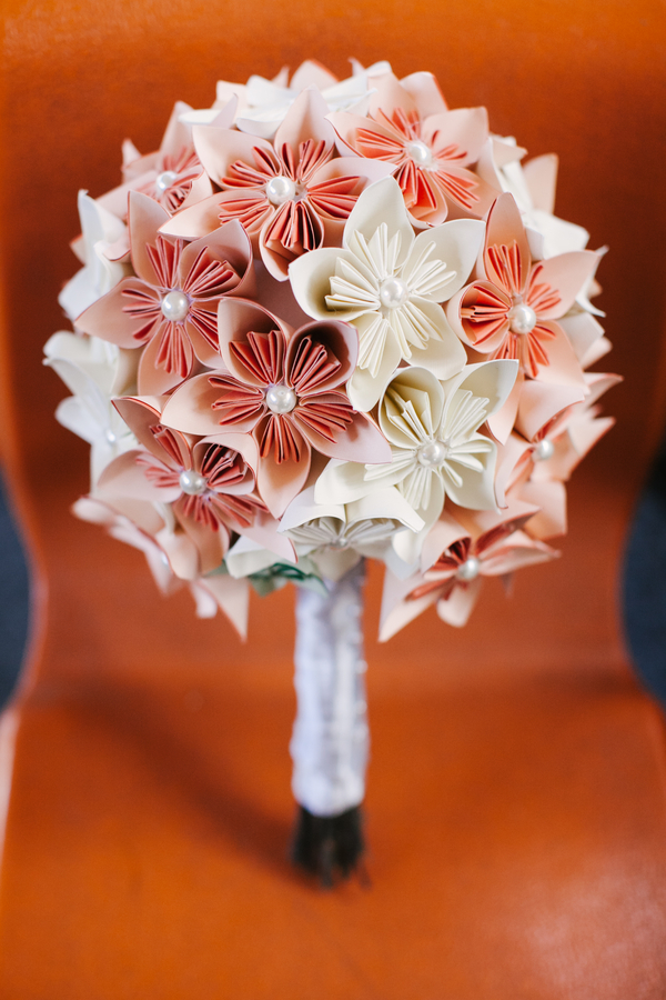 pink paper origami bouquet