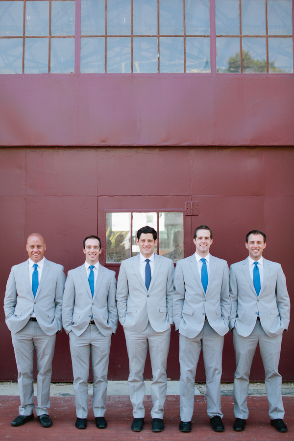 grey groomsmen with blue ties
