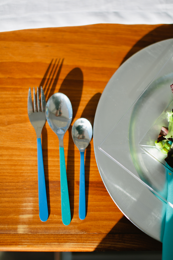 blue dipped flatware
