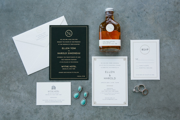 black and white invitation suite