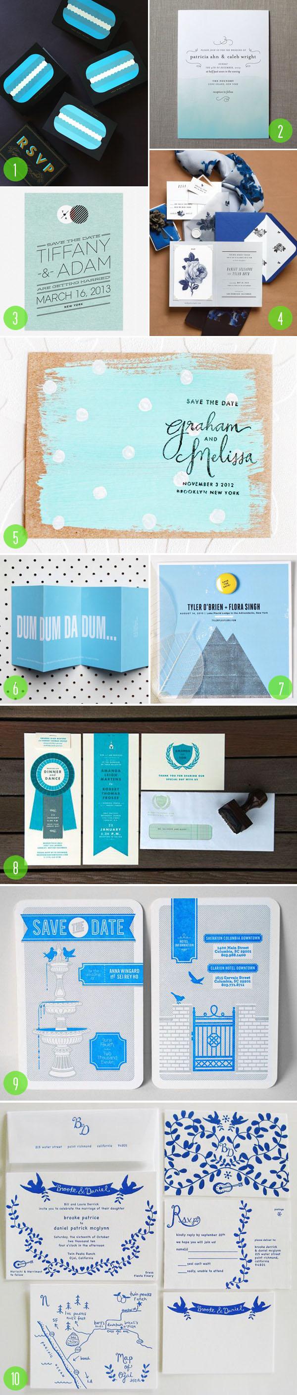 top 10: blue wedding invitations