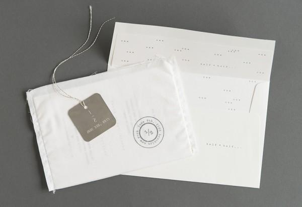 stitched wedding invitation suite