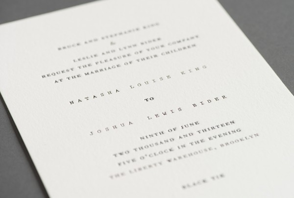 stitched wedding invitation