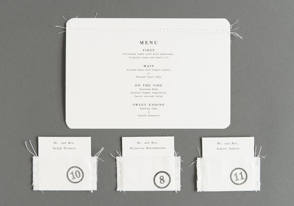 stitched wedding menu and escort cards