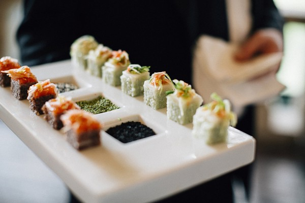 elegant sushi display